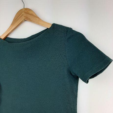 Zielona bluzka Zara butelkowa zieleń S