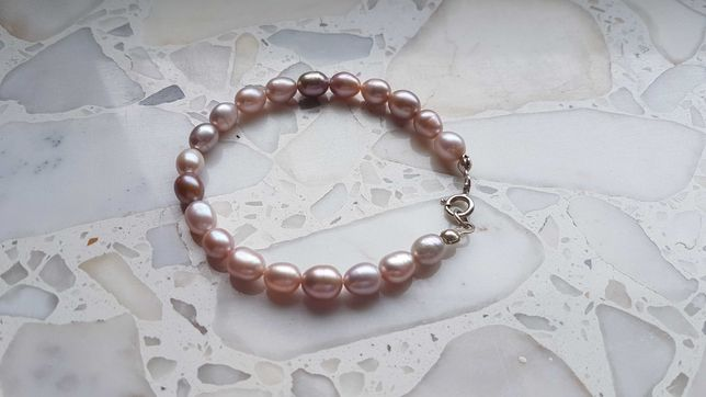 Naturalne perły różowe pastelowe bransoletka