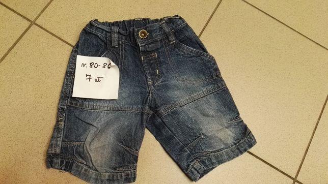 Krótkie spodenki jeans 80-86, stan idealny