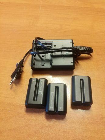 Akumulator np-fm500h 3szt + 2x ładowarka.