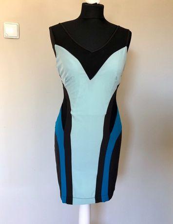 Sukienka House of Dereon, dom mody Beyonce, niebiesko-czarna, S