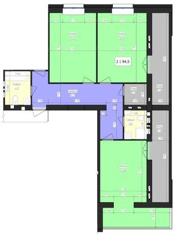 2-х кімнатна квартира 94,5 кв.м. в ЖК Престиж від забудовника