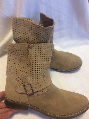 Сапоги ботинки кожаные vaquetillas 39p Ecco Clarks
