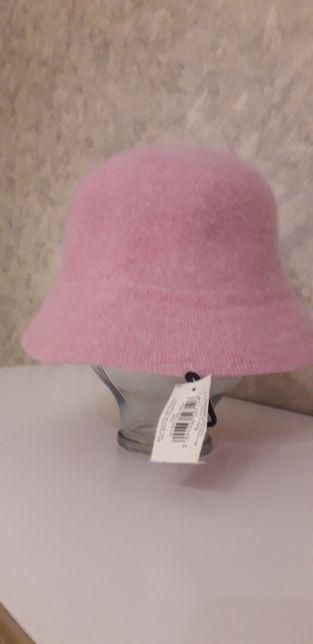 Шляпка розовая из шерсти и ангоры