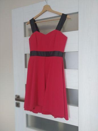 Sukienka wesele malinowa czerwona róż rozmiar 34 XS
