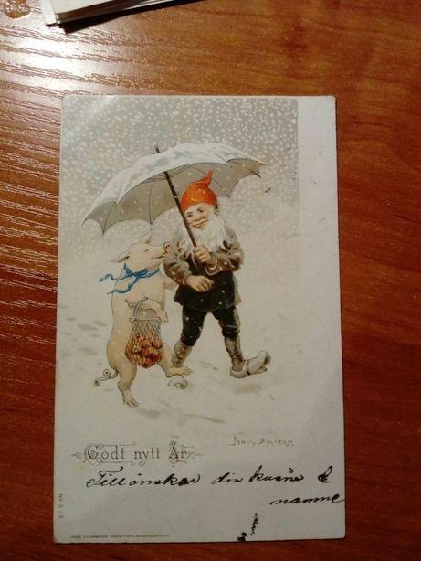 Pocztówka, Kartka pocztowa Szwecja 1904r, obiegowa