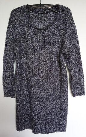 Boohoo Długi sweter melanż czarno-biały M 38