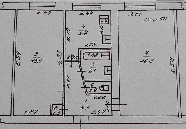 Продам двухкомнатную квартиру 44 метра  на Черемушках