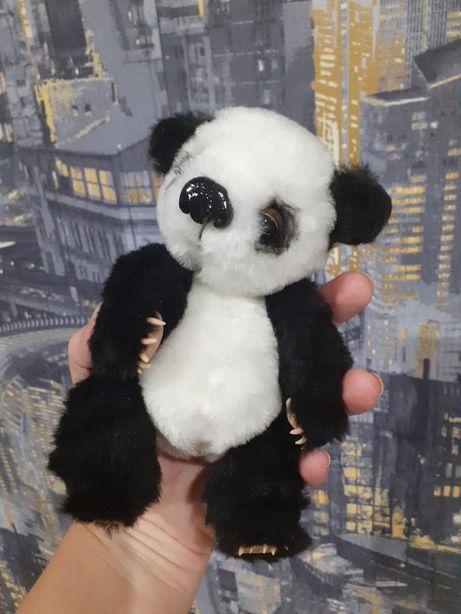 Панда из меха ручная работа мишка на ладошку, маленький пушистый панда