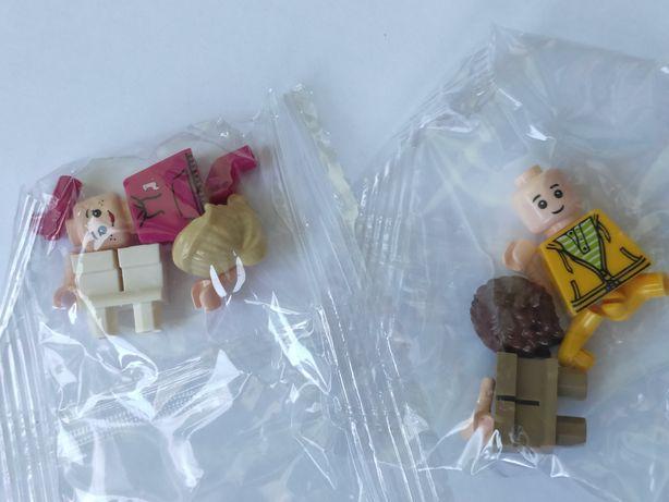 Dwie figurki klocki - chłopiec i dziewczynka ( nie LEGO )
