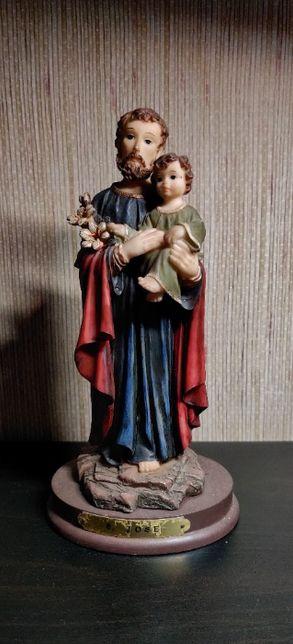 Estatueta S José em marfinite-Louças Falcão;Bom estado;22 cm