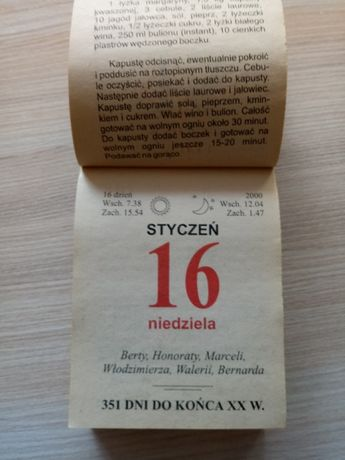 Kartka z kalendarza 2000 rok zdzierak na 20 urodziny rocznice
