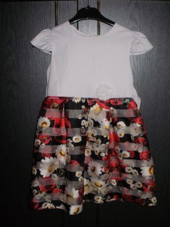 Elegancka sukienka dla dziewczynki z różami- r. 140