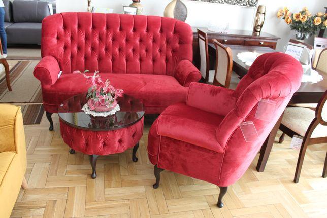 Zestaw klasyczny sofa + fotel + stolik LORD bordowy