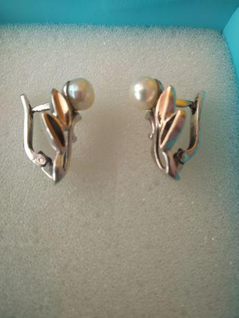 Серьги- серебро с позолотой
