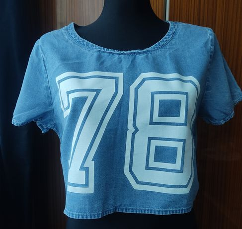 T-shirt jeansowy Crop top divided h&m
