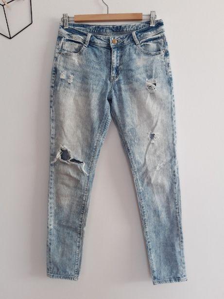 Denim Co spodnie rurki jeansy dziury przetarcia 36