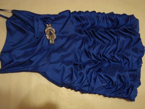 sukienka sylwester wesele bal studniówka elegancka szafirowa chabrowa