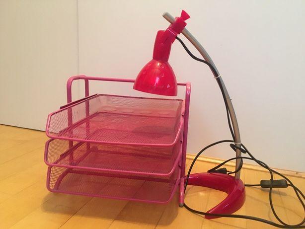 Lampka i organizer na biurko IKEA różowy