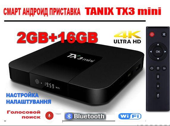 Новая тв приставка Tanix TX3 mini 2Гб+16Гб андроид tv box android x96