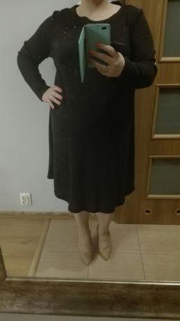 sukienka, NOWA, wygodna, grafitowa C&A rozm ok 50