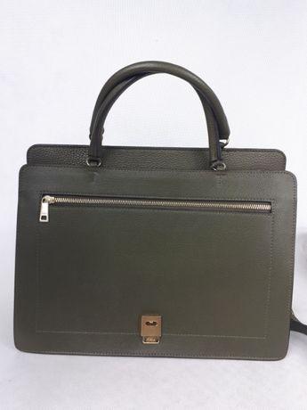 Torebka FURLA zielona elegancka skórzana kuferek torba biznesowa
