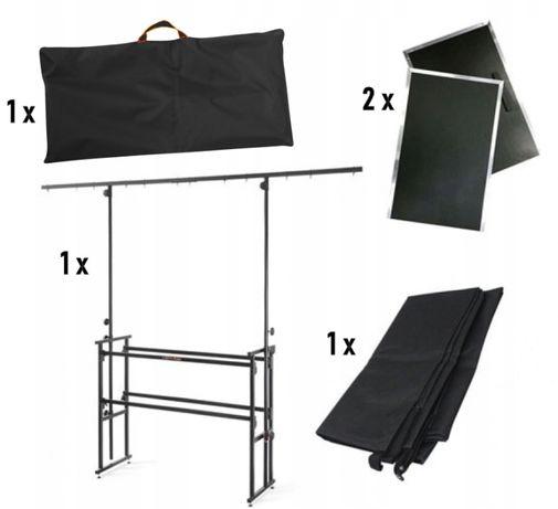 Uniwersalne stanowisko dla DJ'a Zestaw statyw dwa blaty kurtyna torba