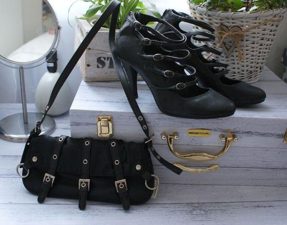 Zestaw buty kopertówka paski Czarna Czarne 37