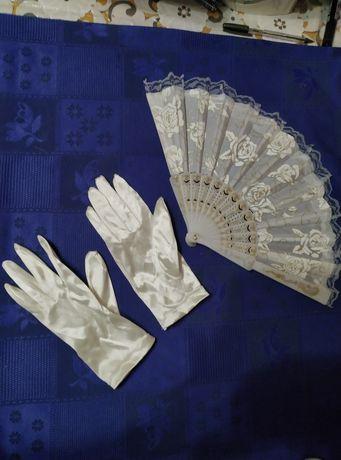 Свадебные перчатки + веер свадебный