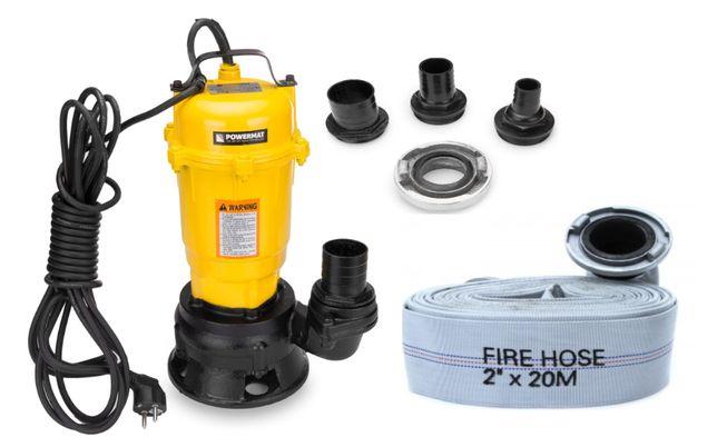 Pompa do wody czystej brudnej szamba z rozdrabniaczem 750W + wąż 20m
