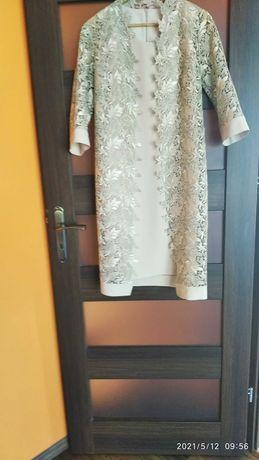 Elegancka sukienka z koronkowym żakietem - komunia wesele L