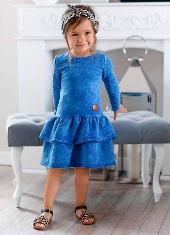 Niebieska sukienka dekatyzowana 98,104,110,116,122,128,134,140