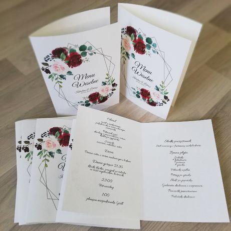 Menu na stół weselny w róże