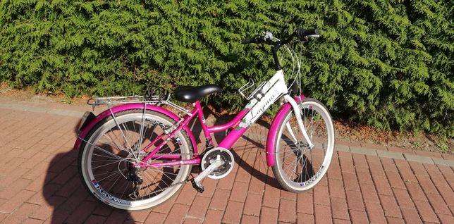 Górski rower dziewczęcy biało różowy