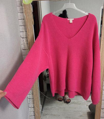 Różowy luźny sweter sweterek oversize H&M dekolt serek luźny