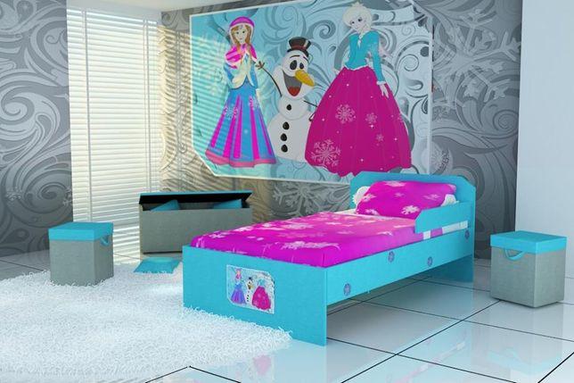 Śliczne łóżko dziecięce, łóżko dla dzieci z naniesiona grafką