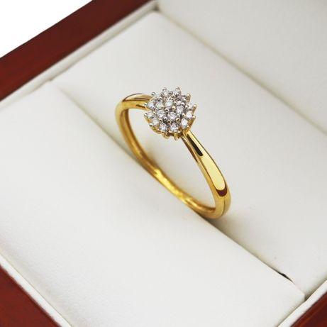 APART Pierścionek z Brylantem 0.10CT Złoty 585 Zaręczynowy z Diamentem