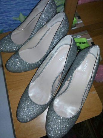 Продам нарядные серебряные туфли размер 38 и 41