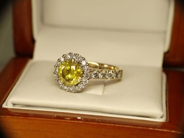 Złoty pierścionek z Diamentem Brylantami 2,71 CT Certyfikat HRD