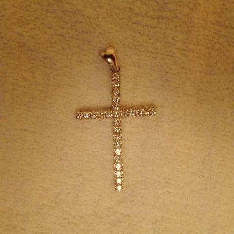 Крестик подвеска из белого золота с бриллиантами