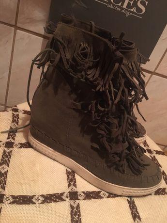 Botki na koturnie sneakersy szare popiel grafit frędzle r.39 damskie
