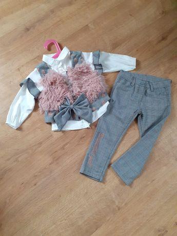 Komplet koszula,kamizelka, spodnie 98 ubrania ciuszki dziewczynka