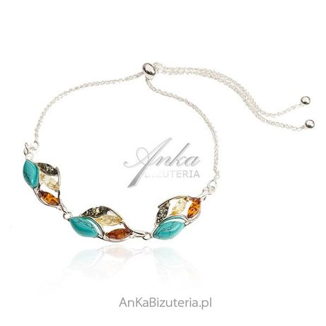 ankabizuteria.pl biżuteria do uszu Srebrna bransoletka z bursztynem i