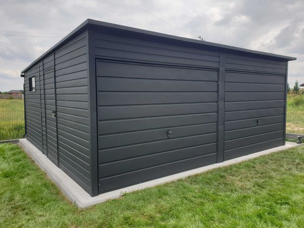 Garaż blaszany czarny mat antracyt 6x5 nowoczesny profil zamknięty