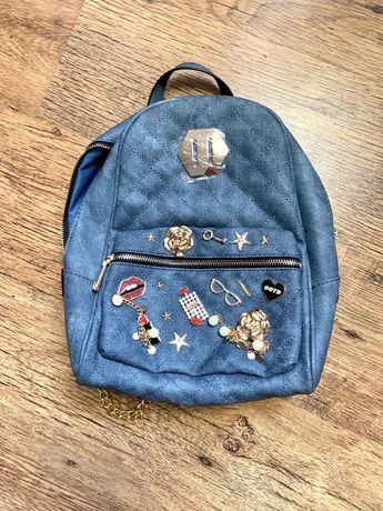 Jeansowy NOWY plecak Aldo z kryształkami i naszywkami
