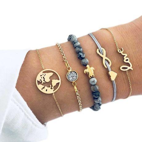 ZESTAW super modna bransoletka złota