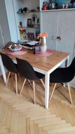 Stół lechman Ikea + 4 krzesła skandynawskie