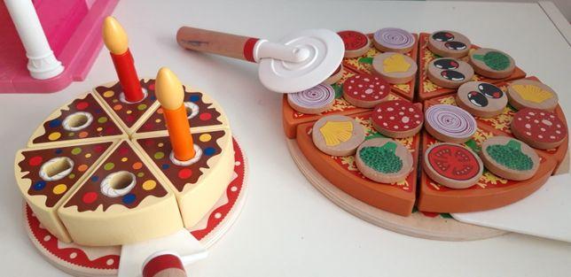 Zestaw drewniany pizza i tort