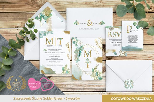 Zaproszenia ślubne, Zawiadomienia - Golden Green