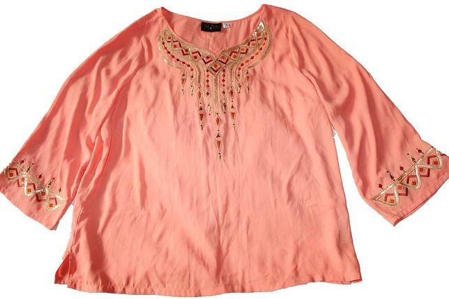 Туника шёлковая коралловая, кремовая,этно орнамент, вышивка, XL,США